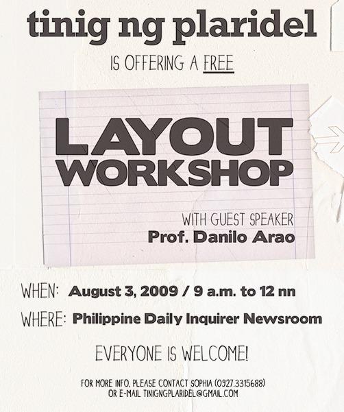 Layout workshop on Monday