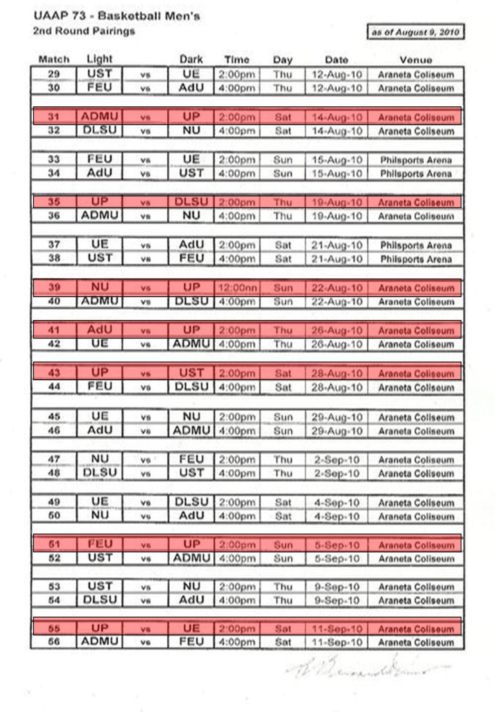 UAAP Season 73 2nd Round Pairings
