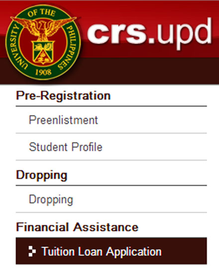 The online tuition loan application module may be availed through a student's CRS account.