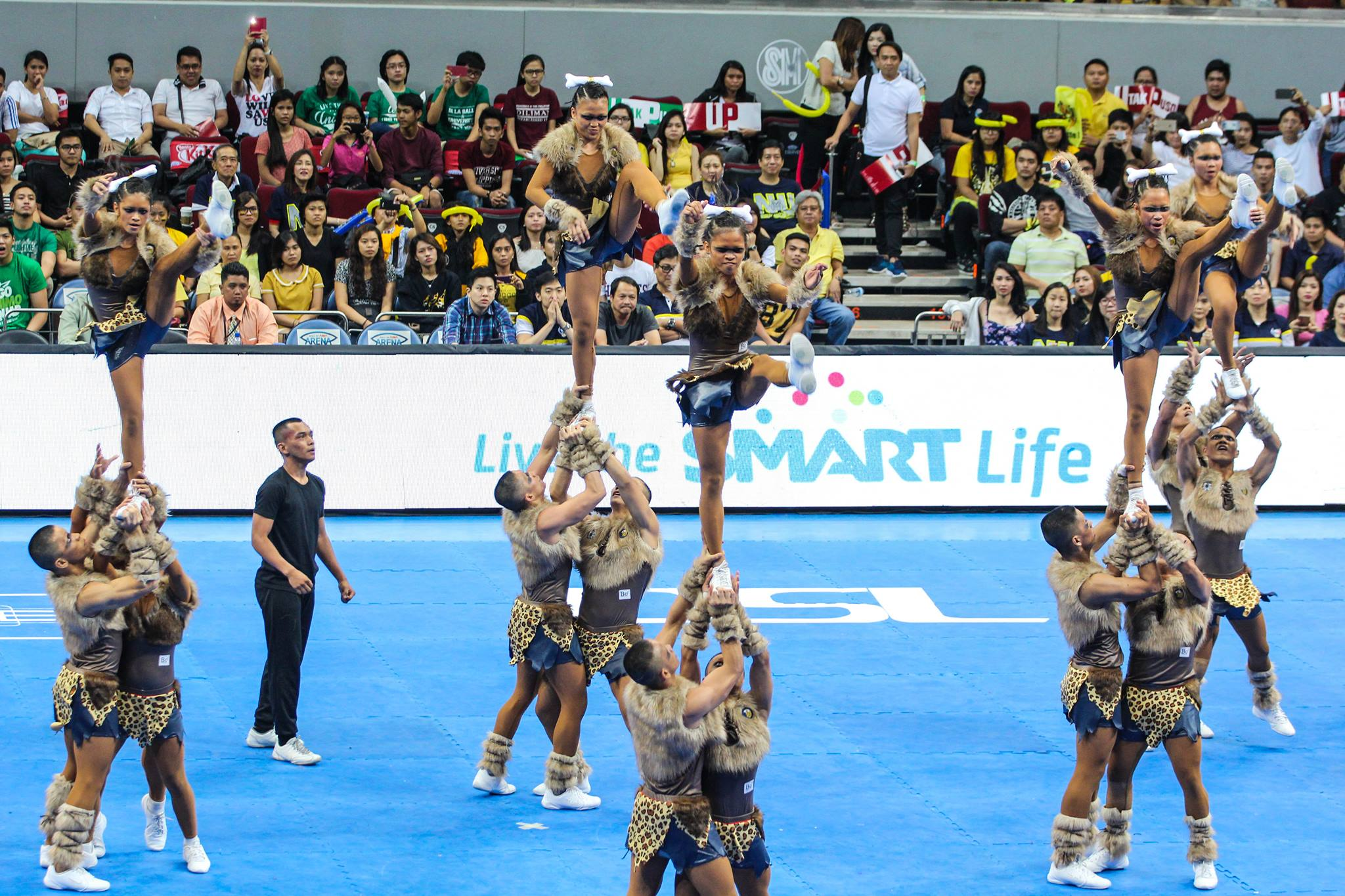 NU bagged their three-consecutive championship titles in the UAAP Cheerdance competition. Judges gave them 688 points.