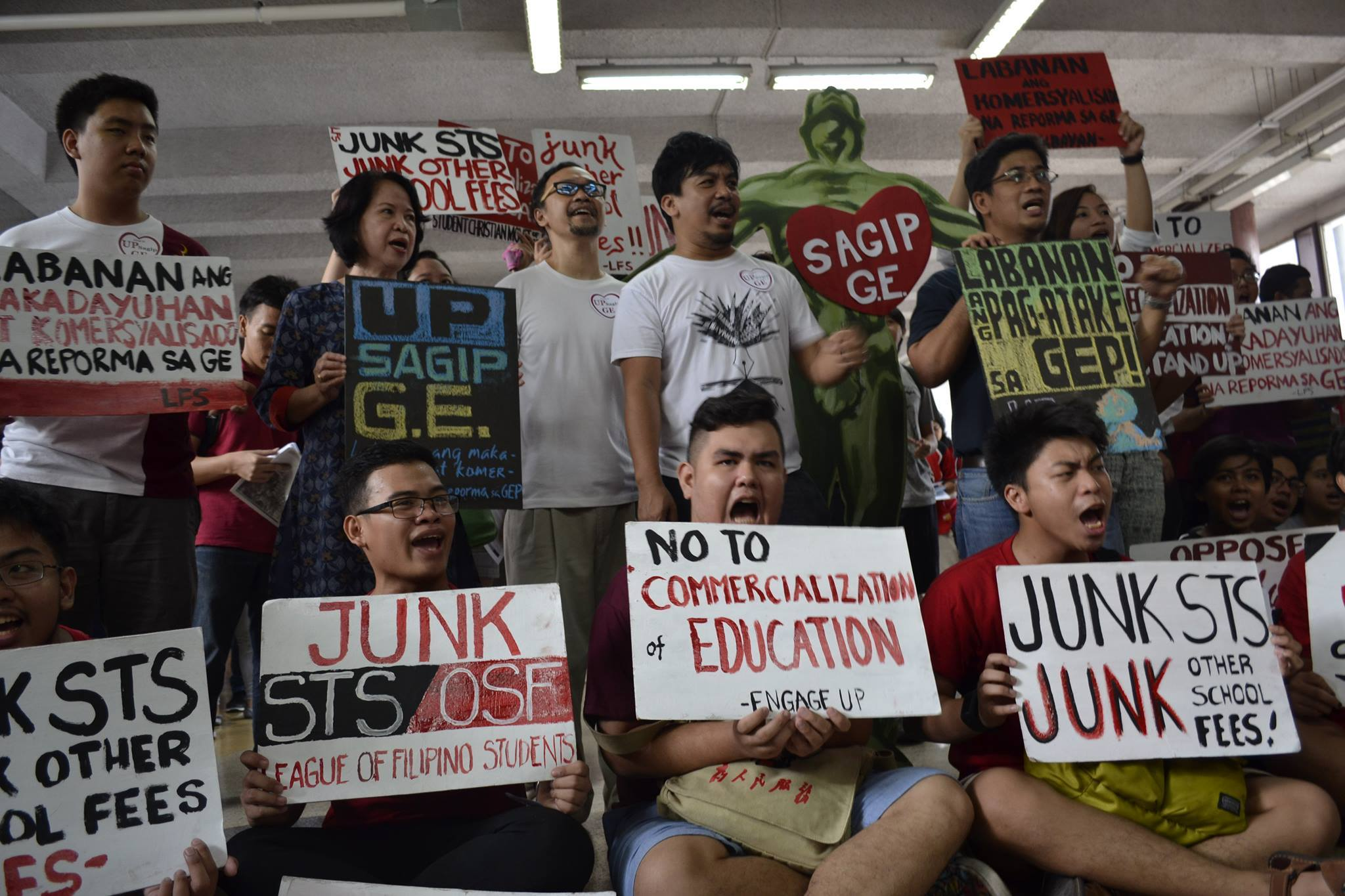 UP Diliman students and professors staged a protest against the proposal for General Education curriculum change, Tuesday, at the Palma Hall.